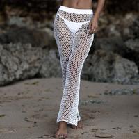 Crochet Mesh Beach Pants For Women 2018 Summer New Elastic Bikini Cover Up Pants High Waist Long Flare Trousers Swimming Bottoms
