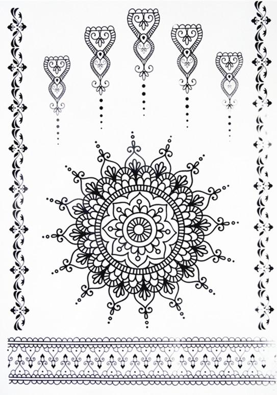 Del nuevo cordn negro pegatina tatuaje de Henna Totem Butterfly 8