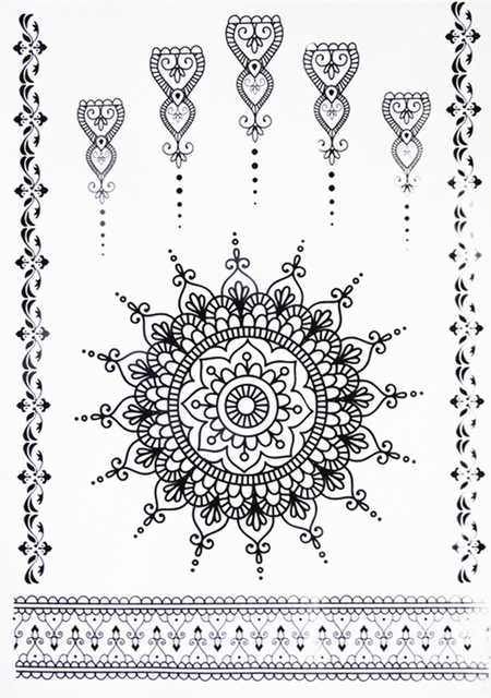Del nuevo cordón negro pegatina tatuaje de Henna Totem Butterfly 8 ...