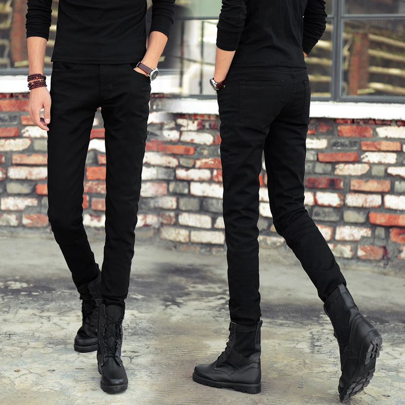 Mens Skinny Jeans 2019 Spring New Classic Solid Casual Designer Straight Black Stretch Denim Trouers