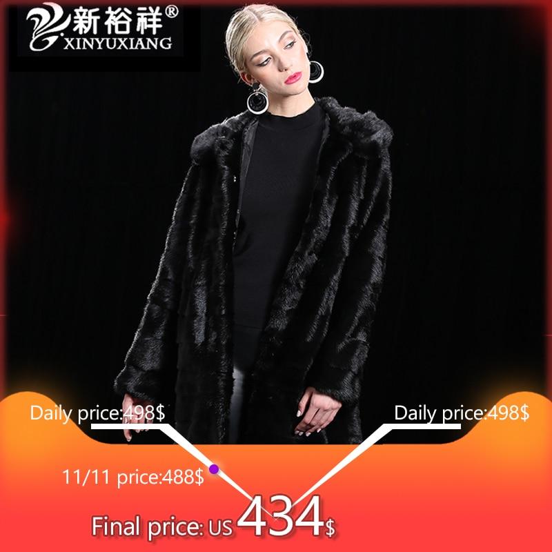 Chaqueta de visón Real larga de Invierno para mujer abrigos de piel auténtica capucha personalizable otoño ropa gruesa de piel Natural cálida