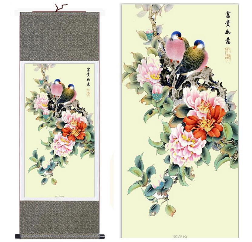 Umělecké malby ptáků a květin Vysoce kvalitní tradiční - Dekorace interiéru