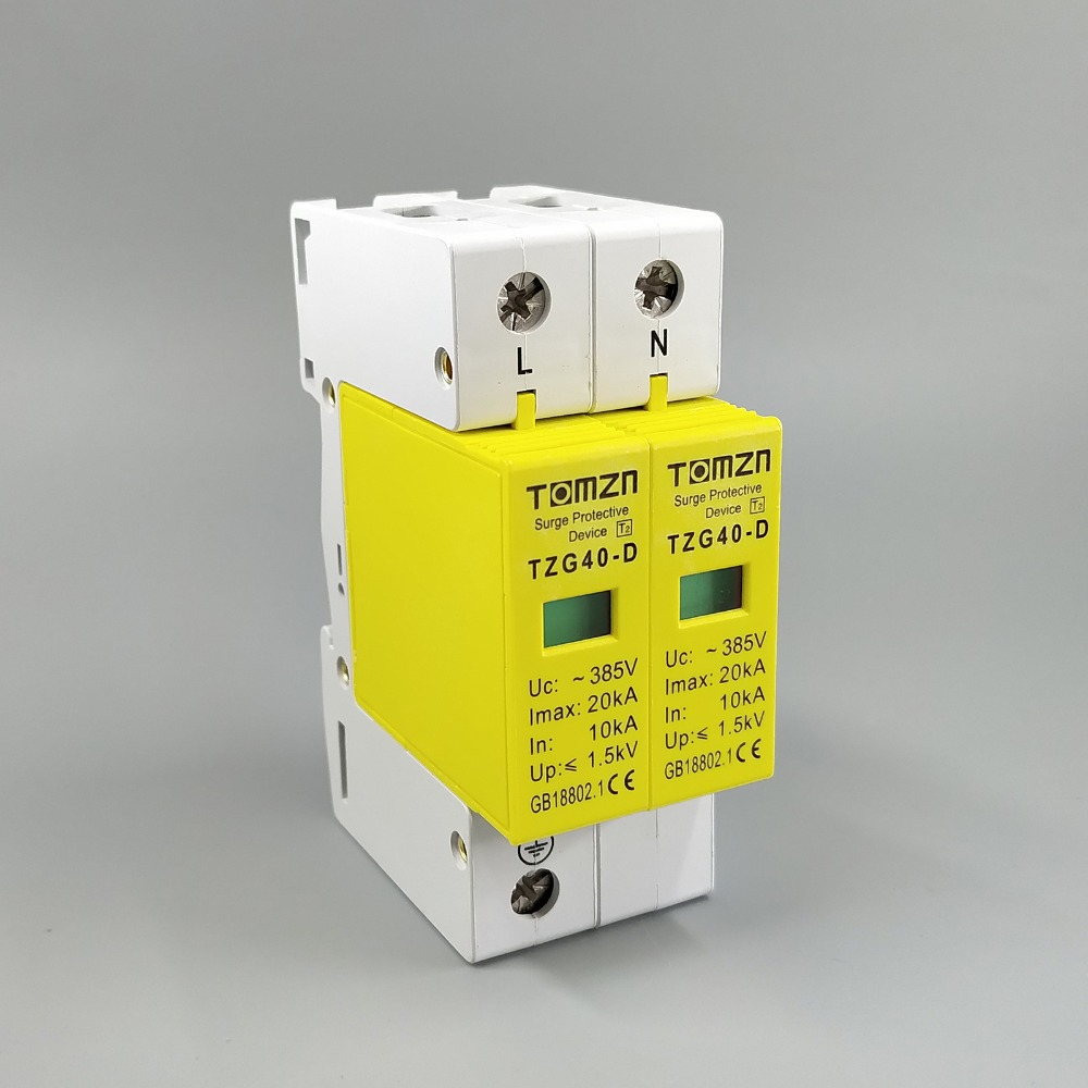 SPD 1P+N 10KA~20KA D ~385VAC House Surge Protector protection Protective Low-voltage Arrester Device rs 485 10ka in out surge protection device blue 6v 24v
