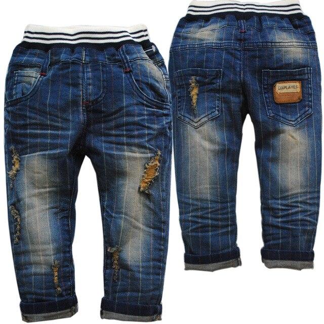 3716 бесплатная доставка 13 - 18 мес. мальчики детские джинсы мальчик джинсовые брюки темно-синий отверстие брюки осень мода полосатые брюки новый
