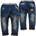 3716 frete grátis 13 - 18 mês meninos calças jeans jeans calças azul calças buraco moda outono listrado calças