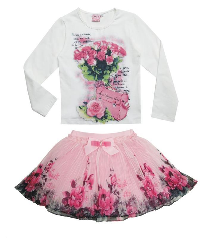 New Fashion 2017 Boutique Outfits Sets For Cute Kids Girl Print Floral Long Sleeve Shirts Tops+Tutu Skirts Sets With Bow Clothes 2016 new fashion boutique outfits for omika baby girls sets with 2 pcs cute print long sleeve tops bow tutu skirts size 4 12y