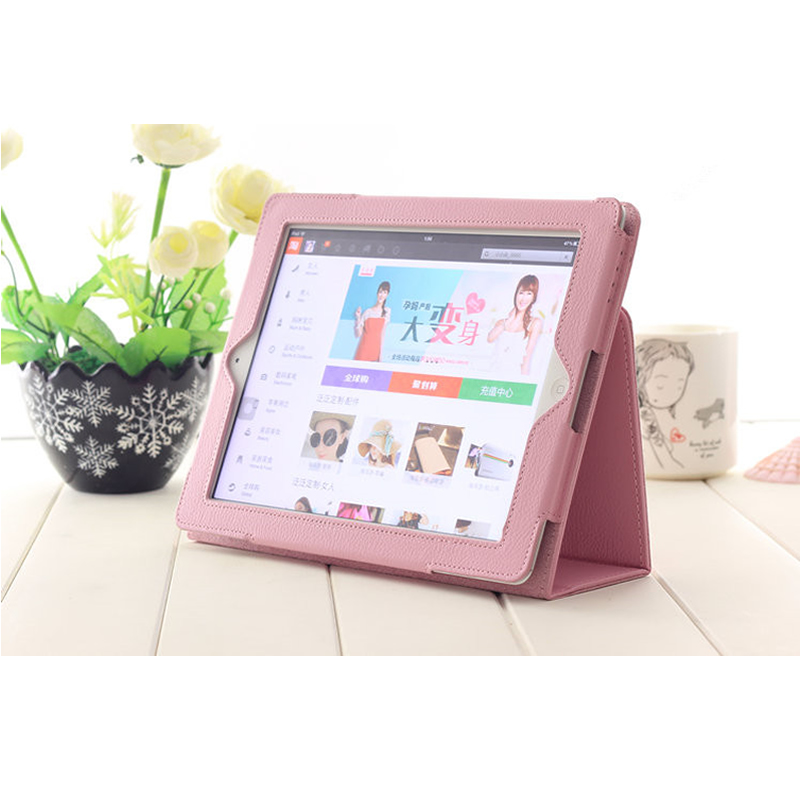 Case For Ipad 2 3 4,Matte Litchi Leather Magnetic Flip Smart Stand Cover For Ipad 2 Ipad 3 Ipad 4 Tablet Accessories