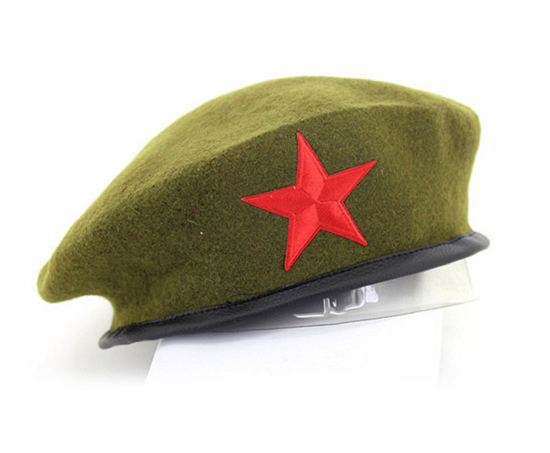1a6d356697f Beret Hat Women s Beanie embroidery star army green felt pure Wool Vintage  Gift winter cap Slouchy Warm good quality-in Fedoras from Apparel  Accessories on ...