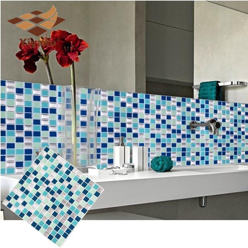 Charmant Self Adhesive Mosaic Tile Wall Decal Sticker DIY Kitchen Bathroom Home  Decor Vinyl W1