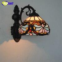 FUMAT 8 Zoll Barock Wandleuchte Wandlampen Europäischen Stil Lotus schatten Glasmalerei Wandleuchten Home Deco Wohnzimmer LED licht