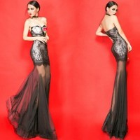 baby dj fashion lace tube top slim waist perspective fish tail tube top full dress