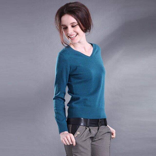 חייט כבשים סוודר נשים V-צוואר קשמיר סוודר נשי צמר סוודר מוצק צבע חולצה slim סוודר