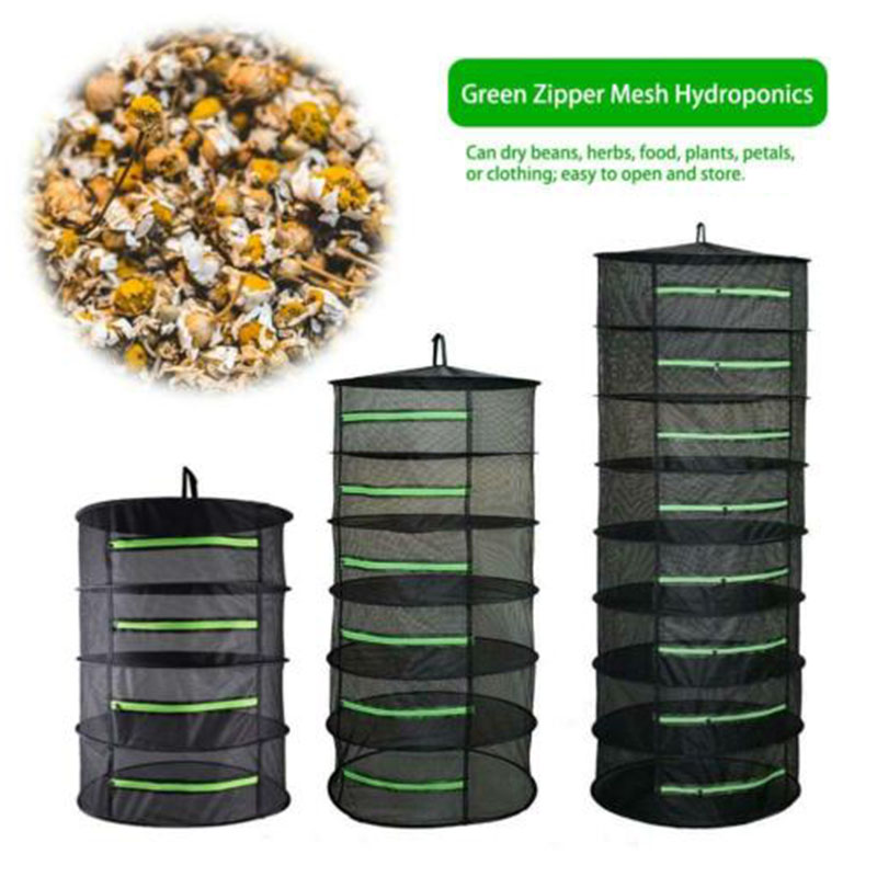 4/6/8 Layers Drying Net Bag Mesh Plant Flower Herbal Side Belt Zipper Folding Hanging Basket  Tray Rack For Herbs Buds Plants