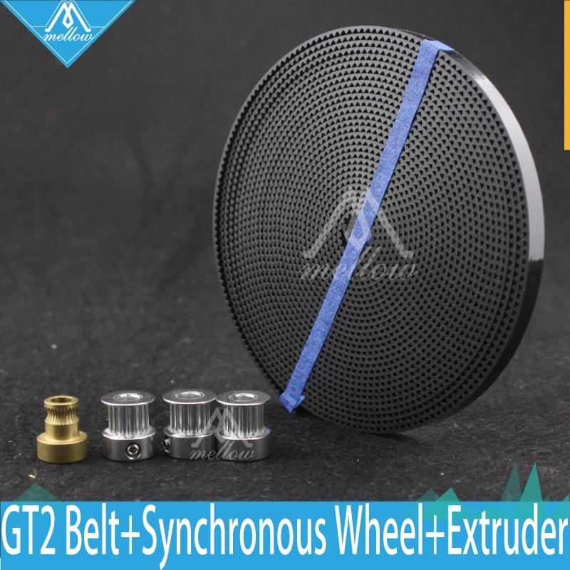 DIY 3D Printer kossel Parts Accessories 1pcs GT2 Belt 3pcs Timing Pulley 16teeth Alumium Synchronous Wheel