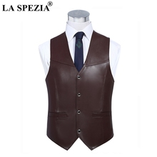 LA SPEZIA Mens Brown Vest Genuine Sheepskin Leather Waistcoat Male Business Luxury Slim Vintage Spring High Quality Gilet 4xl