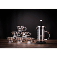 600ml 20OZ Glass French Press Maker with 6 PCS Glass Cup Set for Tea Coffee Gift Box Package DEC291
