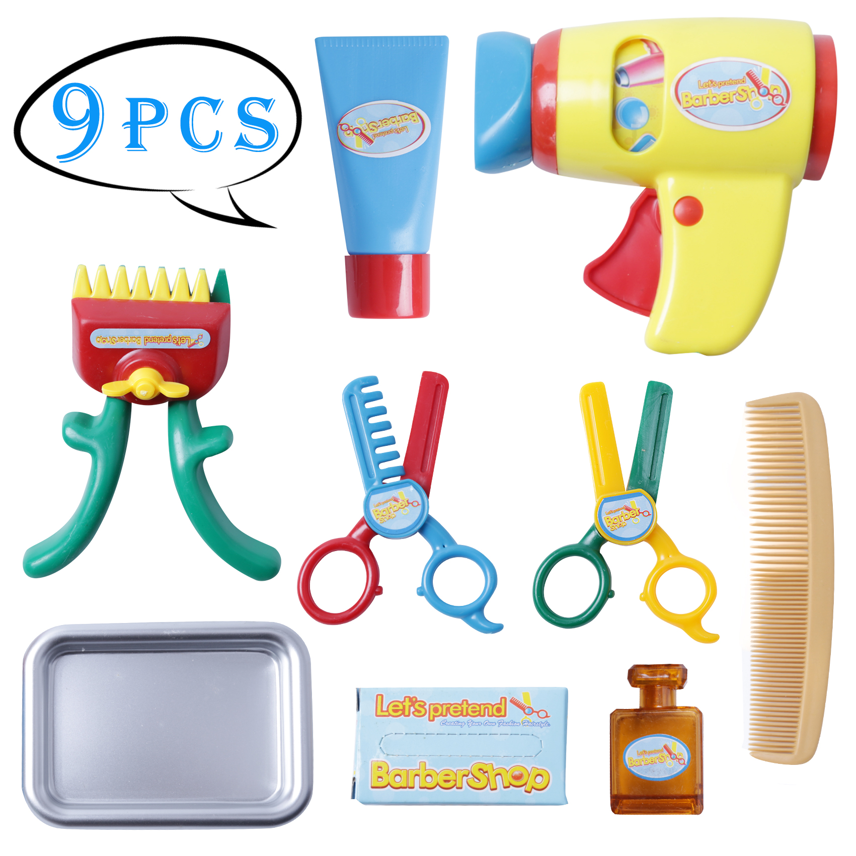 9 Piece Pretend Play Barber Shop Toy Beauty Amp Fashion Toys