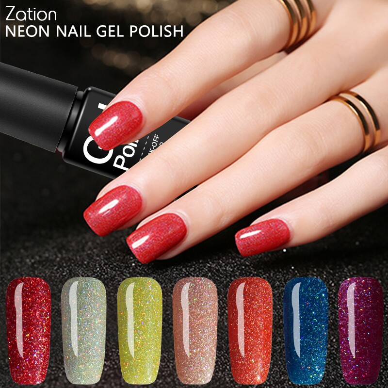 Why Does Neon Nail Polish Chip: Zation Fluorescence Lacquer Bling Neon Gel Nail Polish