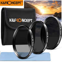K&F CONCEPT ND Lens Filter Kit 52/55/58/62/67/72/77mm ND2+ND4+ND8+Bag+Clean Cloth For Nikon Canon DSLR Neutral Density Filter