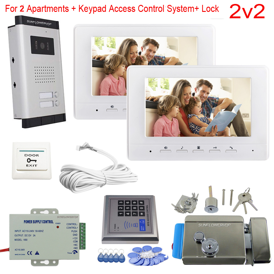 Access Control Keypad 2-8 Apartments Video Door Entry Panel Color 7