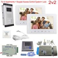 Access Control Keypad 2 8 Apartments Video Door Entry Panel Color 7 Indoor Monitor Video Intercom With Electronic Door Lock Kit