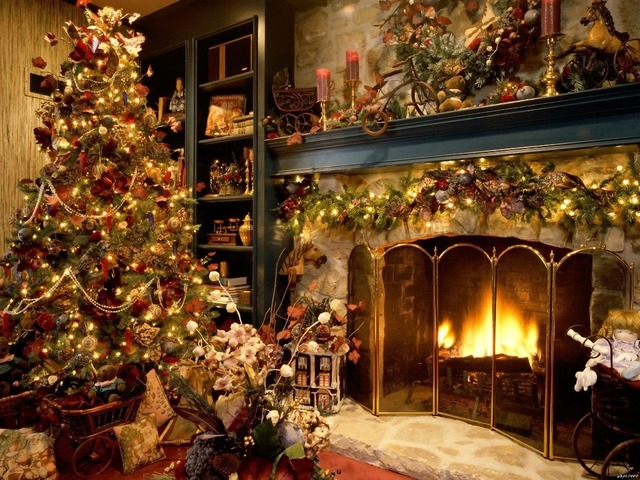 Kamin weihnachten ornamente home kunst riesige leinwand poster ...