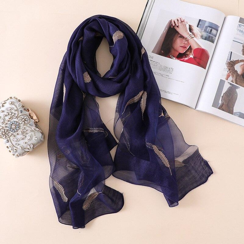 Spain Luxury Brand Embroider Feather Pattern Silk Shawl Women Fashion Plain Ombre Tie Dye Wool   Scarves     Wrap   Foulards Hijab Sjaal