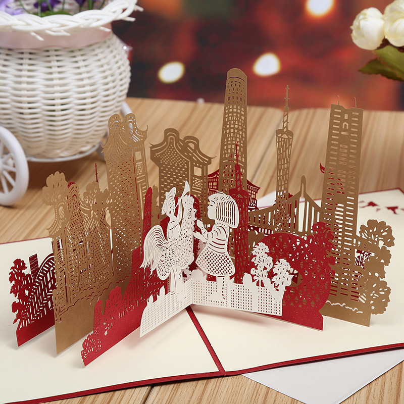 Factory outlets in Guangzhou City silhouette 3D three-dimensional creative city architectural greeting card attractions travel P ivo d drpic architectural delineation