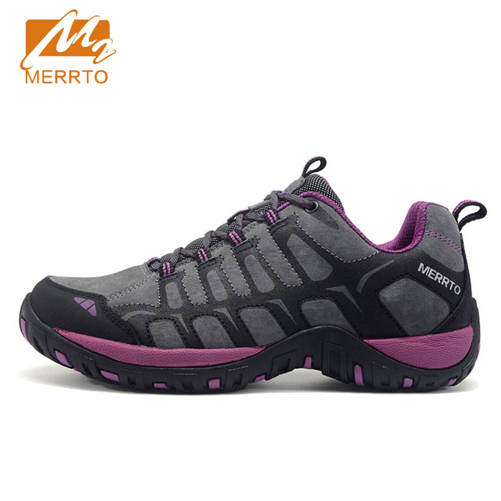 2018 Merrto Womens Walking Shoes Breathable Outdoor Sports Shoes Travel Shoes First Leather For Women Free Shipping MT18608 2018 merrto womens outdoor walking sports shoes breathable non slip travel shoes for women purple rose red free shipping mt18665