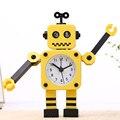 Animação Deformação Robot Alarm Clock 17*11 CM de Metal Despertador Enfeite Sala & Quarto Relógio Despertador