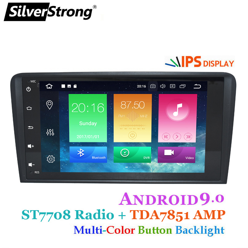 SilverStrong IPS Android9.0 2 din car dvd gps navigation for Audi A3 S3 2003 2011 car radio multimedia aoturadio player