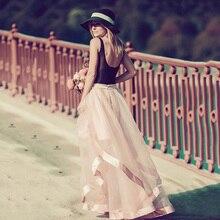 Floor Length Mesh/ Organza Patchwork Ball Gown Skirt