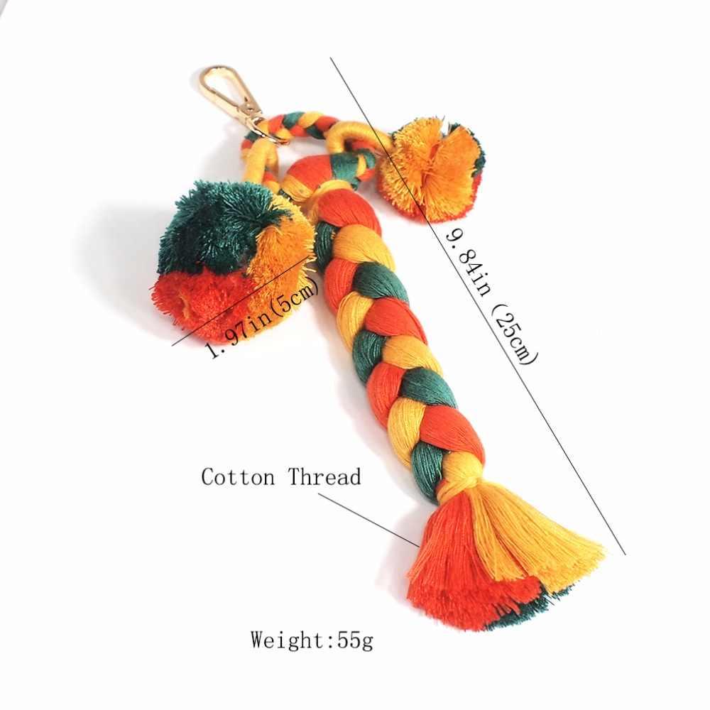 MANILAI Bohemian Handmade Weaving Bolsa Pingente Mulheres Charme Pompom Multicolor Borlas de Algodão Grande Saco de Bola Acessórios de Moda