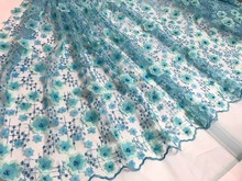 French applique lace fabric high quality embroidry lace trim Nigerian Blue 3D Lace Fabrics For african Wedding Dress NA559B-4