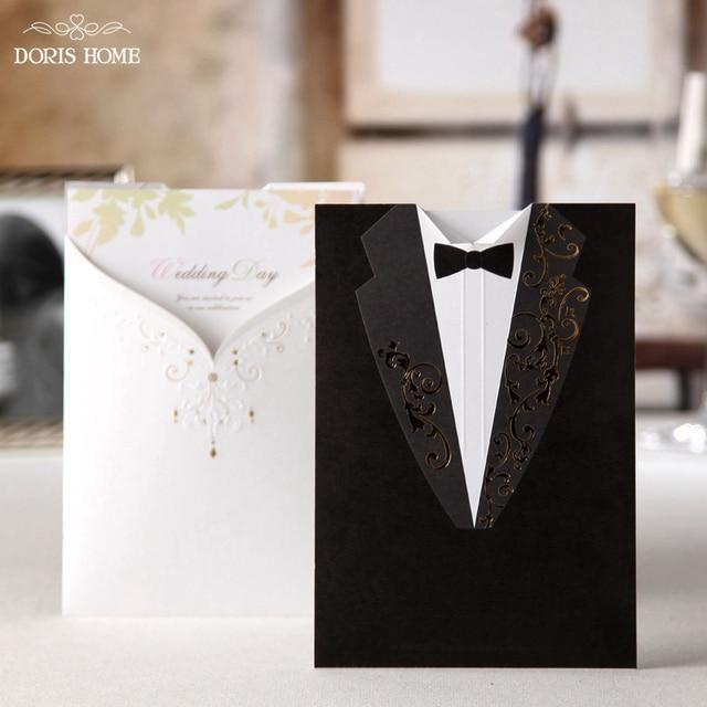 100pcs Printable Customizable Laser Cut Groom and Bride Black&White Engagement Wedding Invitation Card,CW2011