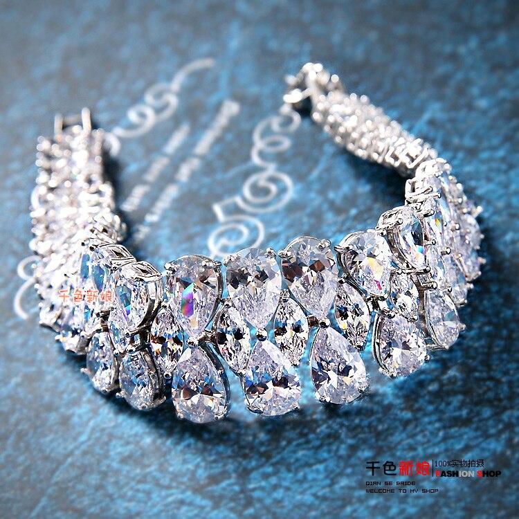 Nouveau haut de gamme étincelles cubique zircone Bracelet femmes brassard main bijoux mariage mariée fête mariage accessoires cadeaux yujian