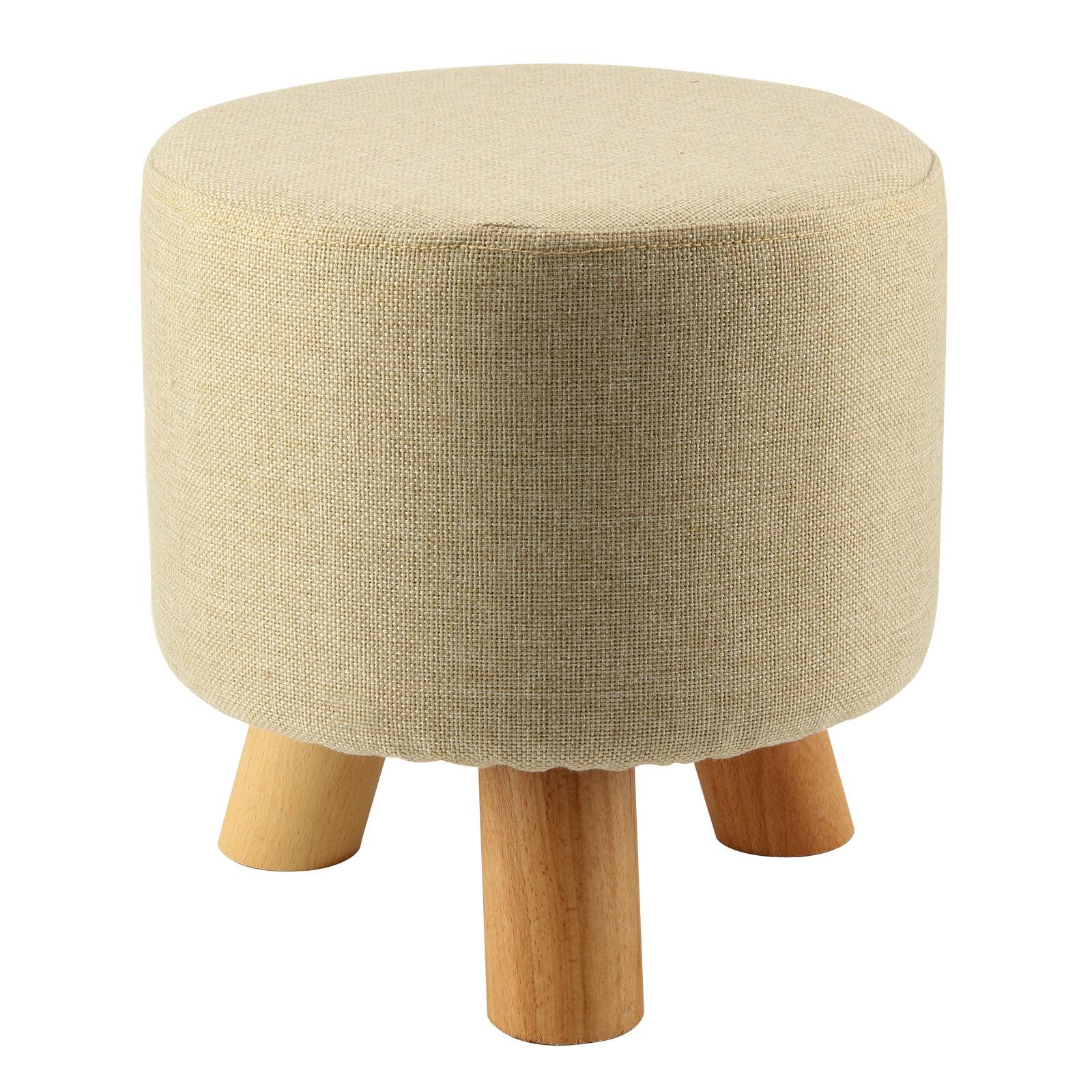popular round fabric ottomanbuy cheap round fabric ottoman lots  - modern luxury upholstered footstool round pouffe stool  wooden leg pattern round fabricgrey