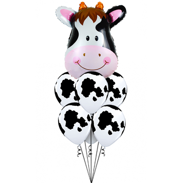7 pcs/lot Tiger Zebra Cow Animal Air Helium Latex Balloon for Kids Gift Birthday Party Decor Animal Zoo Theme Supplies Toys