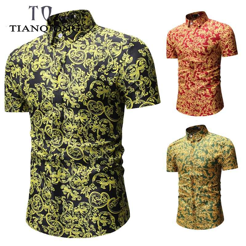 TIAN QIONG 2019 рубашка с короткими рукавами мужские роскошные хлопковые с надписью пляжные рубашки мужская рубашка навыпуск с ярким рисунком летняя Праздничная рубашка