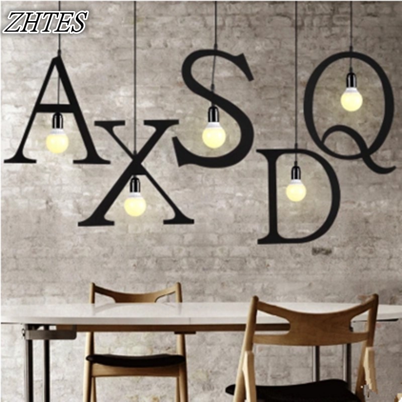 Modern Letters Iron Pendant Light Clothing Store Restaurant Cafe Spelling Sign Letter Drop light
