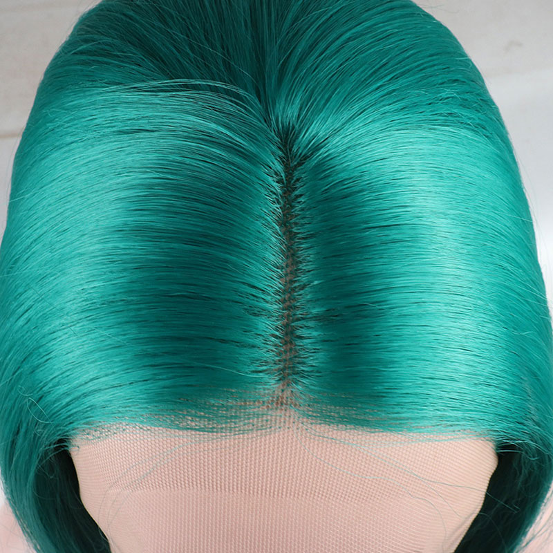 Bombshell Long Straight Synthetic Hand Tied Lace Front Wig Green Heat Resistant Fiber Hair Middle Parting