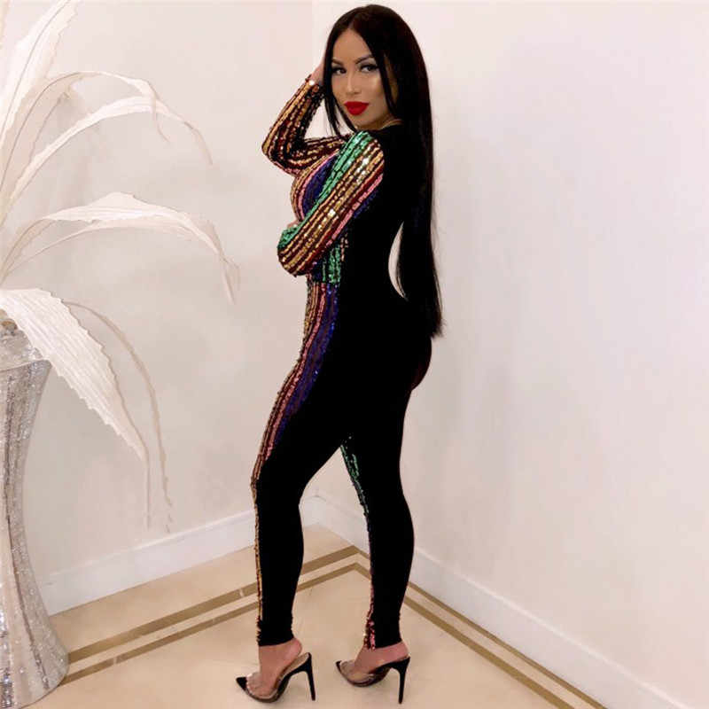 Женский сексуальный глубокий v-образный вырез элегантный комбинезон с блестками с длинным рукавом Облегающий комбинезон для ночного клуба вечерние Блестящий Комбинезон
