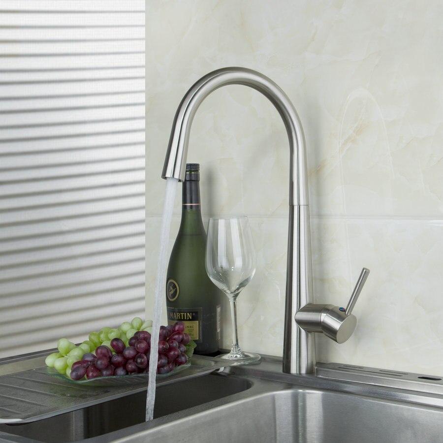 OUBONI Kitchen Faucet Solid Brass Bathroom Basin Faucet 92352 Swivel Spout Vanity Sink Chrome Mixer Tap Single Handle cocina