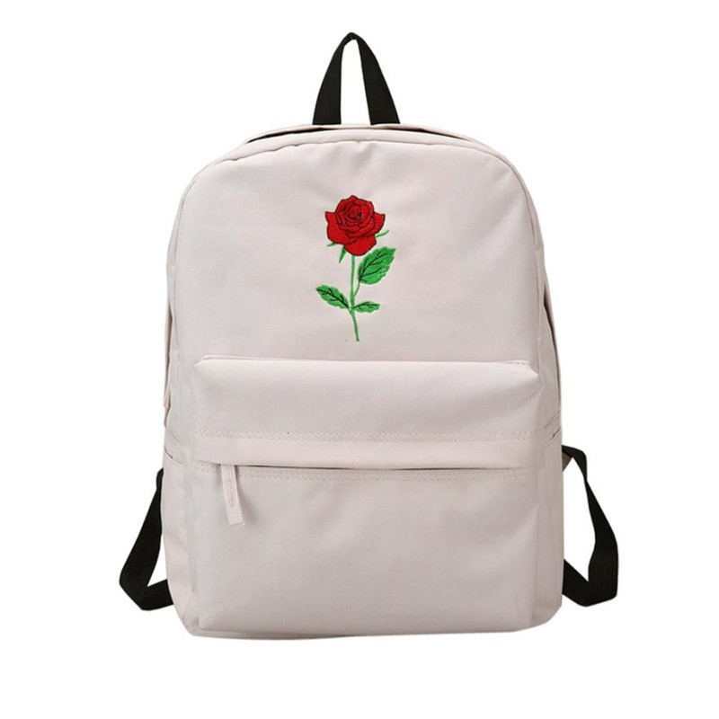 Women Girls Canvas Embroidery Flowers School bags for teenage girls Mochila escolar Scho ...