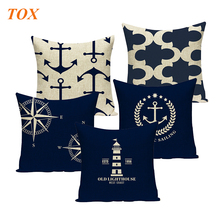 TOX Geometric pillow cushion cover nordic ocean home decoration throw pillows custom linen print  for Sofa Decor