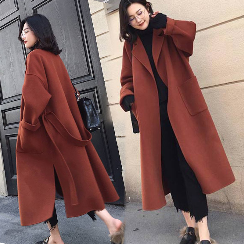 2018 Autumn Winter Thickened Woolen Blend Coat Women's New Loose Large Code X-ling Chic Cashmere Windbreaker   Trench   Coats