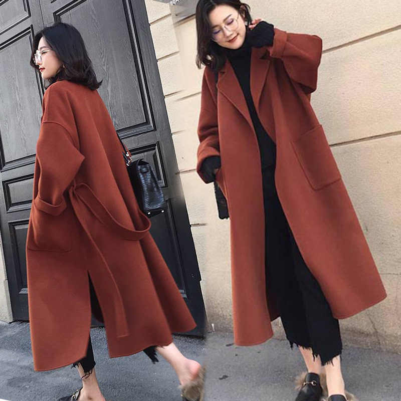 1b18ee6616812 2018 Autumn Winter Thickened Woolen Blend Coat Women s New Loose Large Code  X-ling Chic