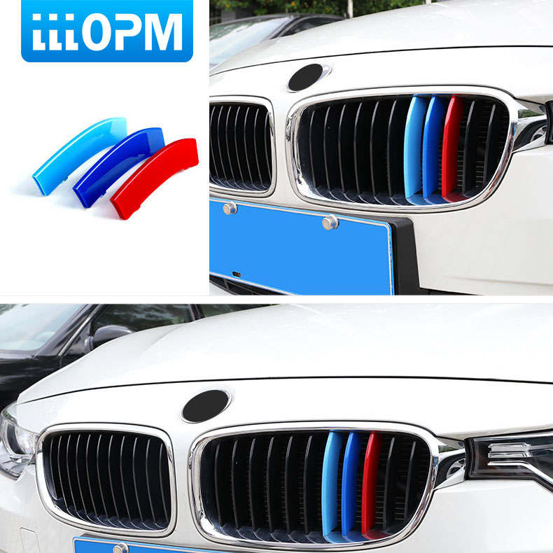 3pcs 3D Car Front Grille Trim Sport Strips Cover Stickers For BMW E46 E90 F30 F34 E92 E93 3 series GT M Power Car Accessories image