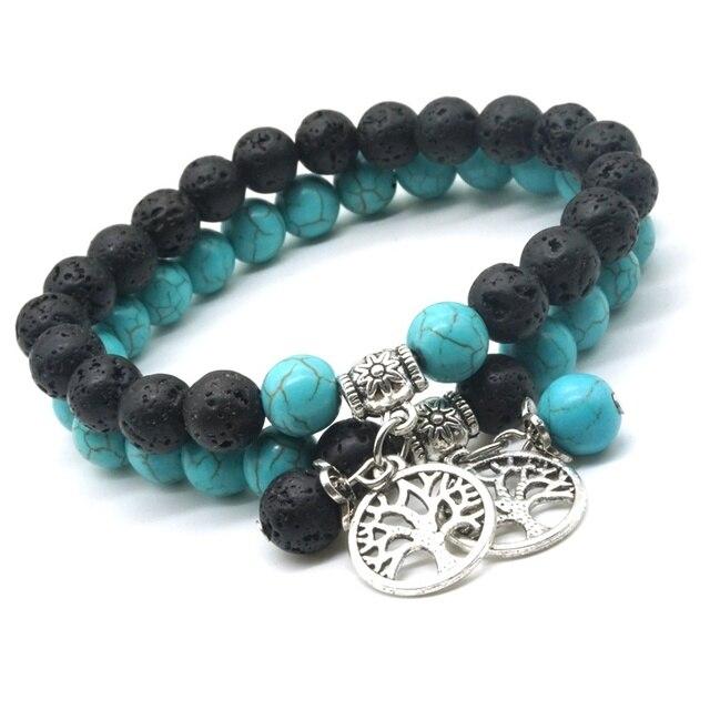 Liebhaber Baum des Lebens 8mm Lava Stein Kallaite Healing Balance Perlen Reiki Buddha Gebet Ätherisches Öl Diffusor Armband Schmuck