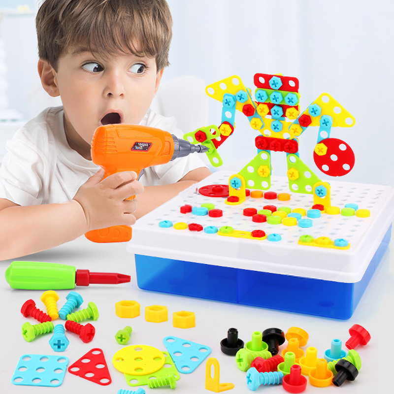 Kids Electric Drill Screw Nut Puzzle Toys Creative Educational Toys Assembled Mosaic Design Building Toys Boys Toys toys